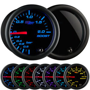 Glowshift 52mm Tinted 7 Turbo 2 0 Bar Boost Gauge W 7 Color Led Display