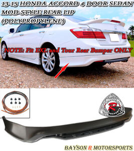 Mod style Rear Lip pp Fit 13 15 Accord 4dr Ex l Tour