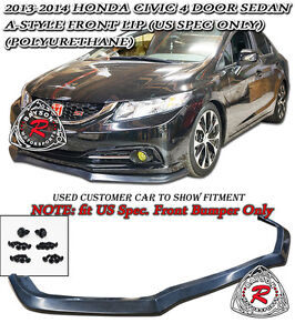 A Style Front Lip Urethane Fits 13 15 Civic 4dr Us Spec Only