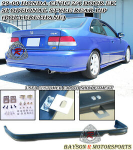 Si Optional Tr style Rear Lip urethane Fit 99 00 Honda Civic 2 4dr Coupe sedan