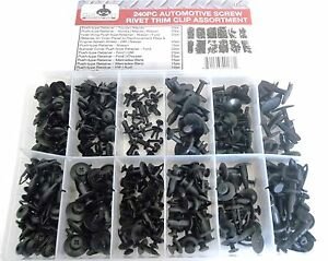 240pc Automotive Screw Rivet Trim Clip Panel Body Bumper Cowl Assortment Srt240