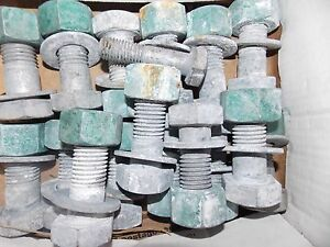 Huge 1200 Lb Lot Of Structural Bolts Nuts 1 Galvanized Zink Usa Orlando