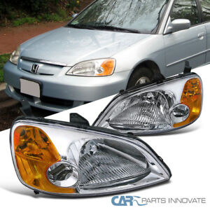For 2001 2003 Honda Civic Em Es 2 4dr Jdm Chrome Headlights Amber Reflector Pair