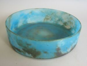 Fine French Art Deco 10 Blue Mottled Glass Bowl C 1920 Antique Vase