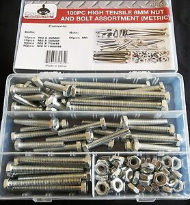 100pc Goliath Industrial 8mm High Tensile Nut And Bolt Assortment Metric Htnb8