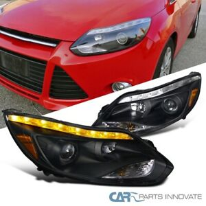 12 14 Ford Focus Black Projector Headlights Lamps Led Signal Strip Left Right