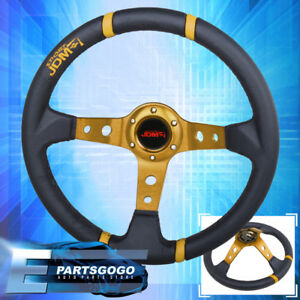 3 5 Deep Dish Racing Leather Steering Wheel Black Yellow Jdm Logo For Honda