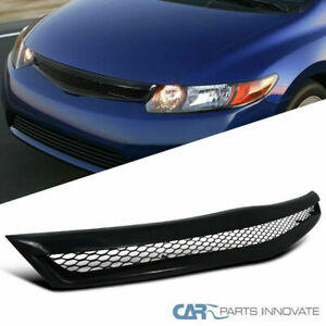 Fit Honda 06 08 Civic 2dr Coupe Si Black Abs Type Jdm Front Bumper Hood Grille R