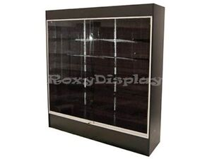 Wall Black Display Show Case Retail Store Fixture With Lights Knocked Down wc6b