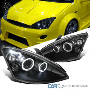For Ford 00 04 Focus Led Halo Black Projector Head Driving Lamps Replacement