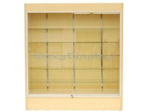 Wall Maple Display Show Case Retail Store Fixture W lights Knocked Down wc6m