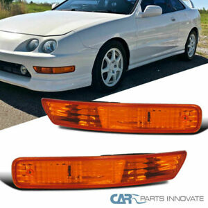 For Acura 98 01 Integra Front Bumper Lights Turn Signal Parking Lamps Amber Pair