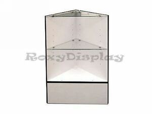 White Open Corner Showcase Display Store Fixture Knocked Down sct cw