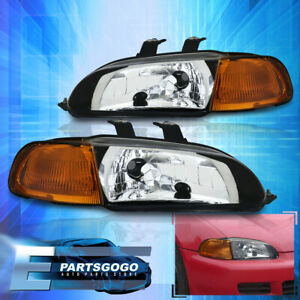 1 Piece Jdm Black amber Headlights 2 3dr For 92 93 94 95 Honda Civic Lx Dx Ex Eg