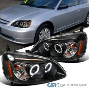 For Honda 01 03 Civic 2 4dr Black Led Halo Projector Headlights Head Lamps Pair