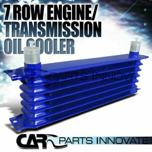 7 Row 10an Powder Coated Aluminum Engine Transmission Oil Cooler Kit Blue