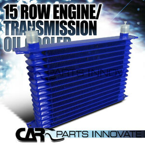 15 Row 10an Powder Coated Aluminum Engine Transmission Oil Cooler Kit Blue