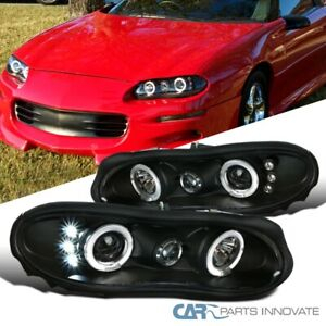 For Chevy 98 02 Camaro Led Halo Black Projector Headlights Head Lamps Left right