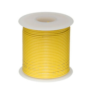 22 Awg Gauge Stranded Hook Up Wire Yellow 100 Ft 0 0253 Ul1007 300 Volts