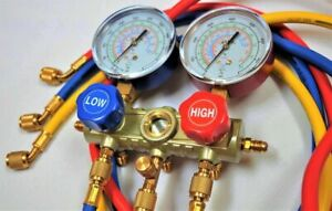 Manifold Gauge Set 5ft Hoses For R410a R22 R404a R134a Hvac Charge Diagnose Tool