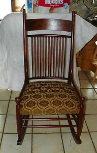 Mahogany Marquetry Inlaid Sewing Rocker Rocking Chair R181