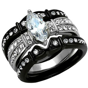 2.50 Ct Marquise Cut CZ Black Stainless Steel Wedding Ring Set Women#x27;s Size 5 11 $15.59