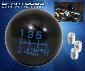 For Chevy Manual M T Round Ball Type Gear Lever Shift Knob Threaded Black Blue