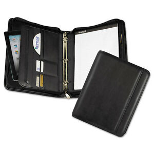 Samsil Pro Zippered Pad Holder ring Binder Pockets Writing Pad Vinyl Black