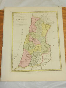1808 Antique Color Map Atlas Classica Purveyorships In Reign Of Solomon