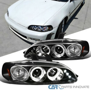 For 92 95 Honda Civic 2 3 4dr Black Led Drl Halo Projector Headlights Head Lamps