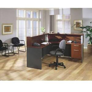 Bush Series C Corsa Executive L shaped Reception Desk Hansen Cherry