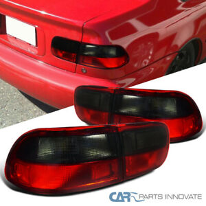 For 92 95 Honda Civic 2 4dr Parking Tail Lights Brake Stop Rear Lamps Red Smoke