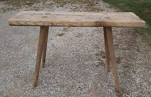 Antique Hand Made Butcher Bench Table Mortised Splayed Legs 48 X15 X29 1 2 Tall