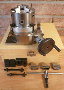 4 Rotary Table 3 jaw X 3 1 4 Chuck On Back Plate Molded Case Machining New