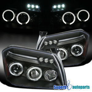 For 2005 2007 Dodge Magnum Led Dual Halo Projector Headlights Black Replacement