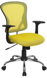 Lot Of 12 Mid back Yellow Mesh Office Chair With Chrome Finished Base
