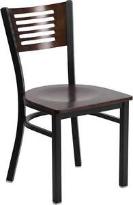 Lot Of 20 Black Decorative Slat Back Metal Restaurant Chair Walnut Wood