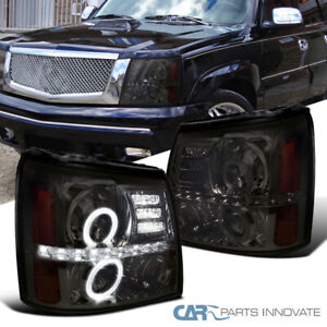 Cadillac 02 06 Escalade Led Halo Projector Headlights Lamps Smoke Left Right