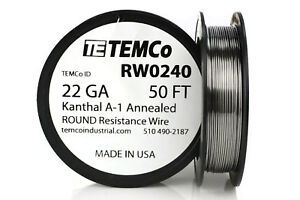 Temco Kanthal A1 Wire 22 Gauge 50 Ft Resistance Awg A 1 Ga
