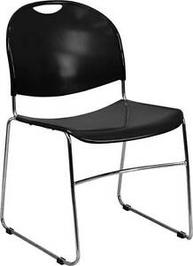 Lot Of 20 Black High Density Ultra Compact Stack Chair With Chrome Frame