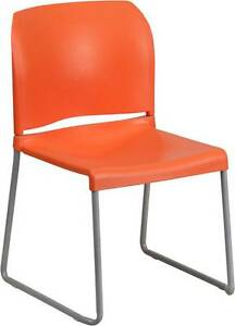 Lot Of 20 Orange Full Back Contoured Stack Chair With Sled Base