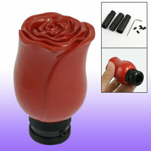 Red Rose Flower Universal Auto Car Gear Stick Shift Knob Shifter Cover