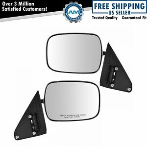 Mirrors Manual Pedestal Style Chrome Lh Rh Pair Set For Chevy Gmc Tahoe Yukon