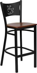 Lot Of 6 Black Coffee Back Metal Restaurant Bar Stool Cherry Wood Seat