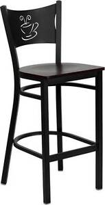 Lot Of 6 Black Black Coffee Back Metal Restaurant Bar Stool Mahogany Wood Seat