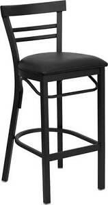 Lot Of 6 Black Ladder Back Metal Restaurant Bar Stool Black Vinyl Seat