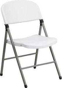 Lot Of 40 Hercules Series 330 Lb Capacity White Plastic Folding Chair With Gray