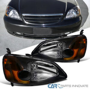 Fit Honda 2001 2003 Civic 2 4dr Coupe Sedan Black Head Lights Lamps Amber Pair