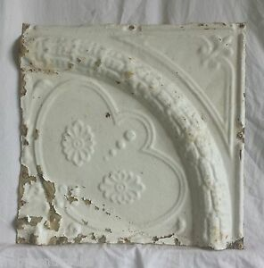 1890 S 12 X 12 Antique Tin Ceiling Tile Shabby Vintage Ivory Ax20 Metal