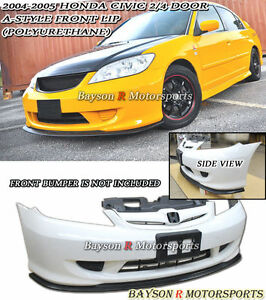 A Style Front Lip Urethane Fits 04 05 Civic 2 4dr